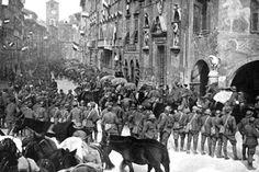 La vittoriosa entrata delle truppe italiane a Trento.(1918)