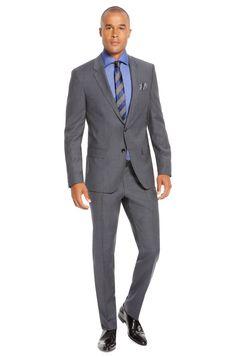 BOSS 'Huge/Genius' | Slim Fit, Super 100 Italian Virgin Wool Mini Check Suit Dark Blue free shipping