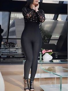 Sexy Mesh Patchwork Beaded Tight Jumpsuit