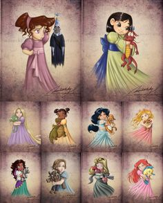 moonchildinthesky, from Argentina, decided to recreate the Disney princesses as children and turned their animal partners into plushies they would embrace.