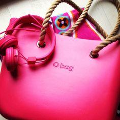 O Bag in magenta with natural rope handle #handbags