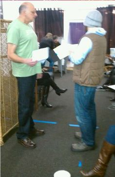 """Kurt Fuller and James Roday going over lines from the play """"Greedy"""", directed by James, also starring Kurt and Maggie. See my """"Greedy board. Psych Cast, Maggie Lawson, James Roday, Cool Pictures, Stage, It Cast, Play, Board, Planks"""