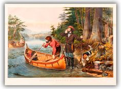 American Women: Hunting & Shooting & Trapping in century America Arthur Fitzwilliam Tait (English-born American Painter, for Currier and Ives American Field Sports An Early Start 1863 Water Time, Currier And Ives, Camping Theme, Outdoor Art, American Artists, Fly Fishing, 19th Century, Art Gallery, Women Hunting
