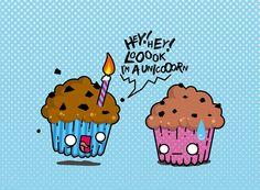 CupCake Unicorn by ©Tom Delmarcel cake food kawaii happy excited fear manga kwai vecto vector digital art digital art pink blue birthday troll crazy illustration lol