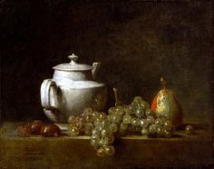 Jean-Baptiste-Siméon Chardin, Still Life with Teapot, Grapes, Chestnuts, and a Pear 17[64?] on ArtStack #jean-baptiste-simeon-chardin #art