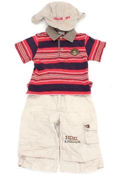Sommerliche Longbermuda mit vielen praktischen Taschen, Poloshirt und dazu passender Schirmmütze (Gr. 50) in Gr. 92. 100% Baumwolle