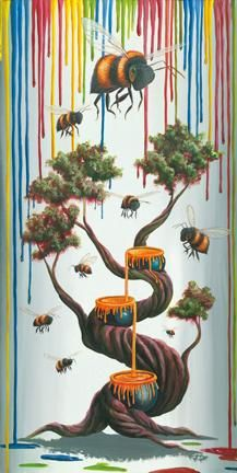 """Like Bees to Honey"" by Michael Summers Fine Art Limited Edition Size: 18 x 36 inches"