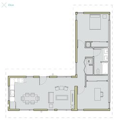 by LivingHomes: floor plan works for container home. - House Plans, Home Plan Designs, Floor Plans and Blueprints L Shaped Tiny House, U Shaped House Plans, U Shaped Houses, Small House Floor Plans, The Plan, How To Plan, 2 Bedroom House Plans, Shipping Container House Plans, Shipping Containers