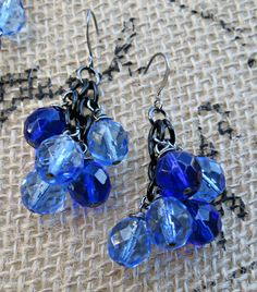 Vintage Inspired Sapphire and Cobalt Blue Imported Precosia Czech Glass Cluster Earrings by SparkleCatStudio.  We donate a portion of our proceeds to animal rescues. Find us on Facebook: https://www.facebook.com/SparkleCatStudio