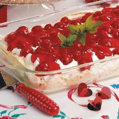 Cherry Meringue Dessert ~ It's hard to resist this elegant treat with its sweet cherry flavor and fun crunchy crust!
