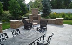 Stamped concrete patio with fireplace