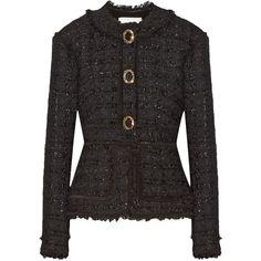 Erdem Karina metallic tweed peplum jacket ($2,535) ❤ liked on Polyvore featuring outerwear, jackets, collarless jacket, tailored jacket, metallic jacket, slim fit jackets and metallic tweed jacket