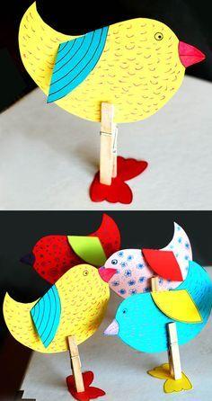 Kuş yapımı, etkinlikleri çalışmaları kalıplı kağıt el işleri çalışması ve örnekleri etkinliği. Preschool activities craft site.