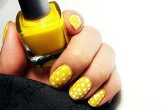 #nails #yellow #white #polkadot