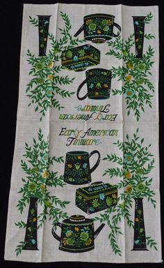 Vintage TEA TOWEL - EARLY AMERICAN TINWARE - LINEN - UNUSED