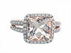 14K Rose Gold, Diamond and Morganite Gemstone Ring