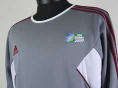 Adidas iRB 2007 Rugby World Cup Long Sleeve Jersey US Mens Size Large UK 44/46