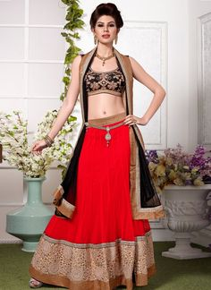 Cheerful Red & Black Embroidered Net Lehenga Choli