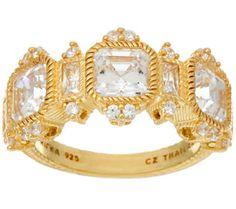 Judith Ripka Sterling or 14K Clad Diamonique Ring - J328298