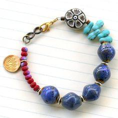 Beaded Lotus Charm Bracelet Yoga Bracelet Chunky by ThreeTrees, $32.00