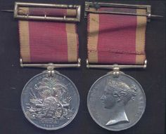 "First Opium War Medal, 1842.  The China War Medal was originally intended by the Governor-General of India, in Oct 1842, to be awarded exclusively to all ranks of the Honourable East India Company's Forces. Instead, in 1843, under the direction of Queen Victoria, the British Government awarded it without clasp to all members of the British Army and Royal Navy who had ""served with distinction"" between 5 Jul 1840 and 29 Aug 1842."