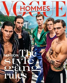 """From left to right: Vito Basso, Pablo Morais, Kit Butler, Ariel Rosa and Jonathan Bellini in """"City of the Gods"""" by Mario Testino for the Vogue Hommes Spring Summer 2017 Issue"""
