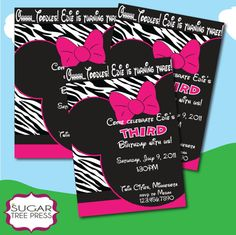 Minnie Mouse Zebra inspired birthday party supplies. Invitations, Decorations, Party Favors and more!    Use coupon code 'pintrest' to save 15% off at check out!