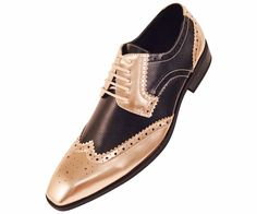 Amali Mens Gold Metallic and Black Lizard Print Wingtip Oxford Tuxedo Dress Shoe : Style 5846-035