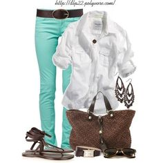 White Collared Button Down Shirt, Turquoise Blue Skinny Pants, Chocolate Brown Sandals, Belt and Purse