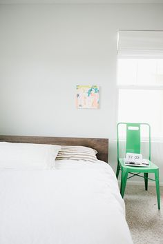 Tiny Dots wall decal in monochrome with the accent green chair in this simple bedroom Wall Stickers Room, Wall Decals, Wall Art, Polka Dot Walls, Polka Dots, Sweet Home, Bedroom Wall Designs, My New Room, Home Bedroom
