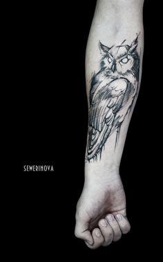 Owl tattoo on forearm blackwork by Ekaterina Severinova - Tattoo MAG Owl Forearm Tattoo, Mens Owl Tattoo, Tattoo Arm Designs, Owl Tattoo Design, Owl Tattoo Drawings, Tattoo Sketches, Raven Tattoo Meaning, Tatuagem Trash Polka, Geometric Owl Tattoo
