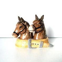 Vintage Salt and Pepper Shakers Horses and Belt Dish Three | Etsy Vintage Bookmarks, Plastic Caps, Vintage Horse, Kitchen Themes, Glazed Ceramic, Vintage Table, Cottage Chic, Salt And Pepper, Farmhouse Decor