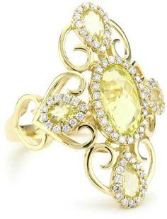 18k Lemon quartz diamond ring