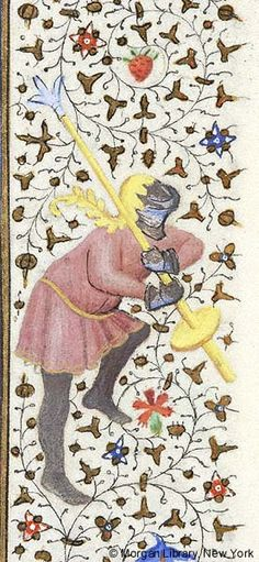 Man wearing helmet and gauntlets, holding jousting lance over right shoulder with both hands | Book of Hours | France, Paris | ca. 1425-1430 | The Morgan Library & Museum