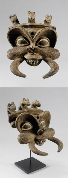 Africa | Mask from Grasslands of Cameroon | Wood and pigment