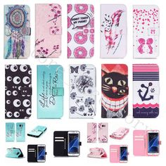 For iPhone Samsung LG Fashion Patterned Card Wallet Synthetic Leather Stand Case