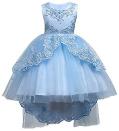 4f4a76acfe5d Kids Flower Girls Lace Tulle Hi-Lo Dress Wedding Bridesmaid Communion Party  Bowknot Dress Formal Pageant Carnival Birthday Evening Prom Dance Ball Gown  Maxi ...
