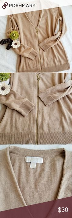 Michael Kors Zip Up Cardigan, Size L Michael Kors Zip Up Cardigan %52 Cotton, %45 Polyester, %3 Angora. Tan color. Size L. Michael Kors Sweaters Cardigans