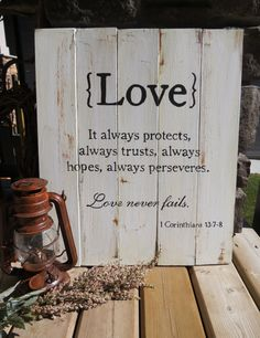 Hand-Painted Love Sign - Corinthians Quote, Rustic, Shabby, Country, Cottage, Wedding gift, Wall Hanging
