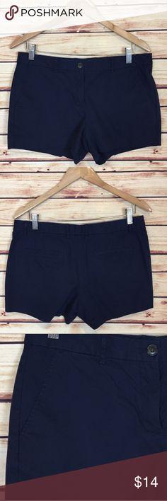 GAP Navy Blue Classic Chino Shorts Iconic Navy Blue GAP Chino shorts. Comfortable, stretch twill. Zip fly, button closure.Slant pockets at front, welt pockets at back. 98% Cotton, 2% Lycra®Spandex. Machine wash. GAP Shorts