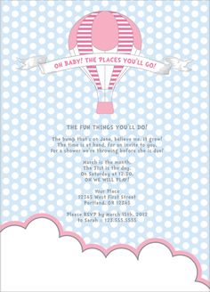 Cute Hot Air Balloon Baby Shower Invitation!