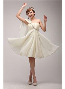 simple one-shoulder knee-length sweet 15 dresses