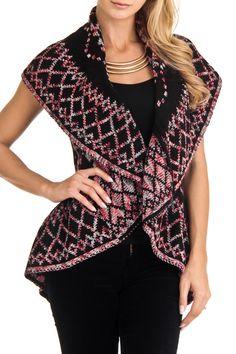 John Paul Richard - Reversible Aztec Print Vest in Black, Red and Ivory