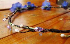 Blue Violet Floral and Crystal beads Hair Crown Hair Garland