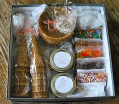 Do it yourself ice cream sundae gift box!This would be so cute for someone who loves ice cream or for a family with kids.