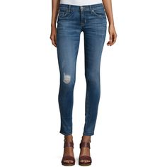 78c5593a0eb Hudson Krista Distressed Skinny Ankle Jeans ($215) ❤ liked on Polyvore  featuring jeans,