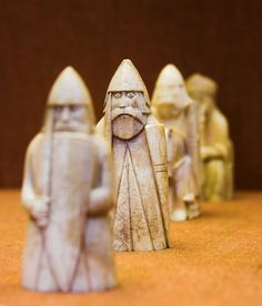 The Lewis Chessmen in the British Museum were probably made in Norway, about AD 1150-1200  Found on the Isle of Lewis, Outer Hebrides, Scotland     The chess pieces consist of elaborately worked walrus ivory and whales' teeth in the forms of seated kings and queens, mitred bishops, knights on their mounts, standing warders and pawns in the shape of obelisks. #Norse #Viking