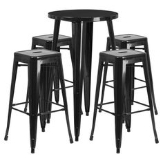 Shop a great selection of Flash Furniture Round Black Metal Indoor-Outdoor Bar Table Set 4 Square Seat Backless Stools. Find new offer and Similar products for Flash Furniture Round Black Metal Indoor-Outdoor Bar Table Set 4 Square Seat Backless Stools. Round Bar Table, Bar Table Sets, Table And Chair Sets, Bar Tables, Bar Chairs, Pink Chairs, Metal Chairs, Eames Chairs, Office Chairs