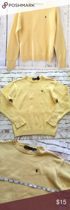 Polo Ralph Lauren large yellow knit sweater Great condition, nice yellow color Polo by Ralph Lauren Sweaters Crew & Scoop Necks