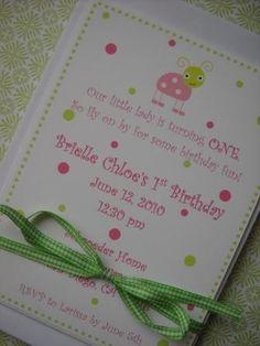 Custom Invitation  Pink and Green Ladybug by ALittleLollipopTree, $1.50